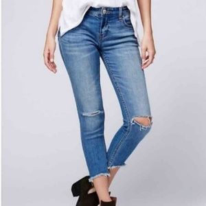 Free People Jeans Busted Knee SZ 27 Skinny Frayed